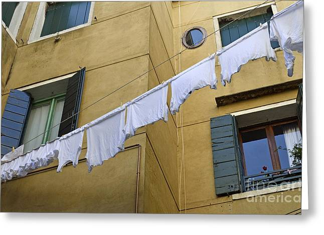 White Laundry Hanging On Clothelines Greeting Card by Sami Sarkis