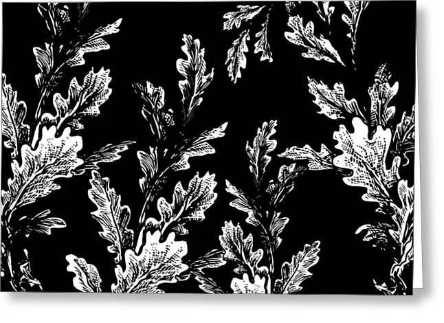 White Leaves On Black  Greeting Card by Chastity Hoff