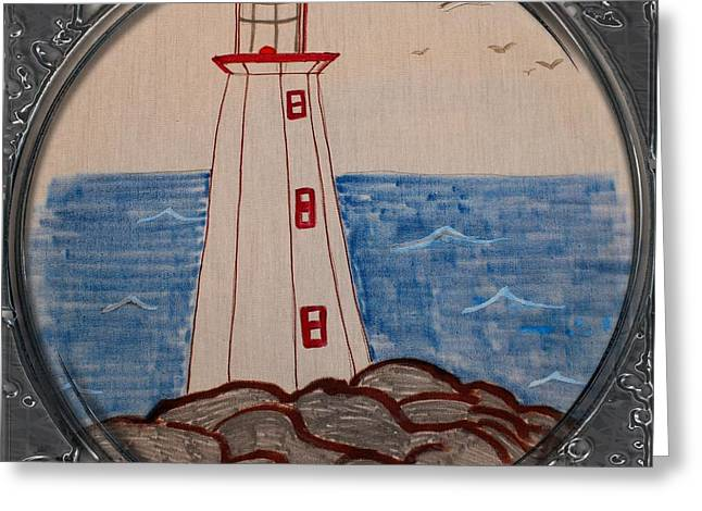 White Lighthouse - Porthole Vignette Greeting Card by Barbara Griffin