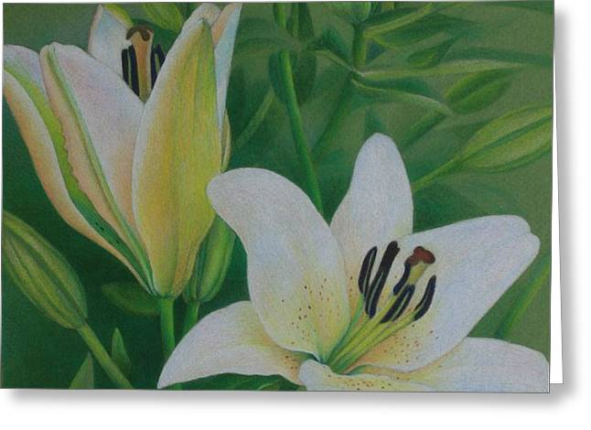 Greeting Card featuring the painting White Lily by Pamela Clements