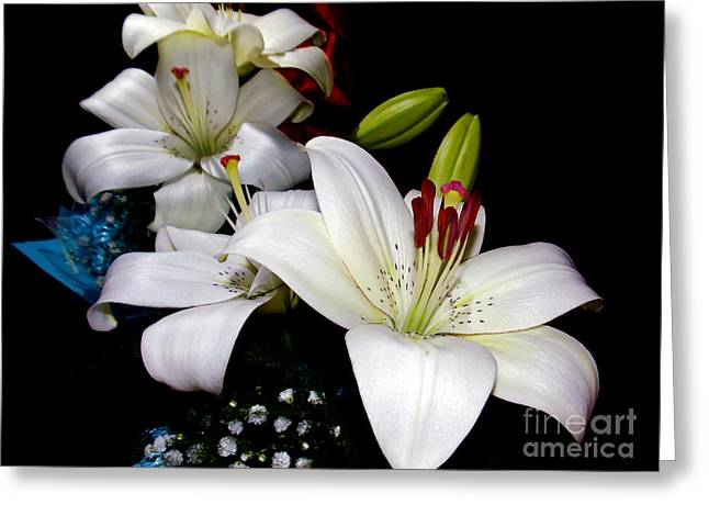Greeting Card featuring the photograph White Lilys by Elvira Ladocki