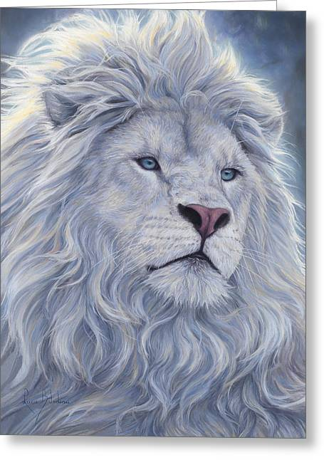 White Lion Greeting Card by Lucie Bilodeau