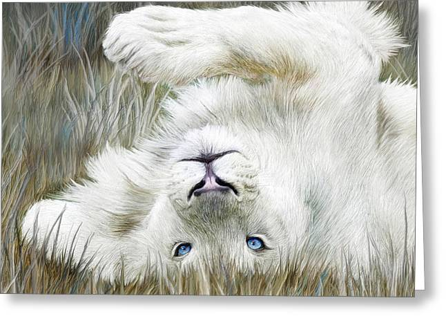 White Lion - Wild In The Grass Sq Greeting Card by Carol Cavalaris
