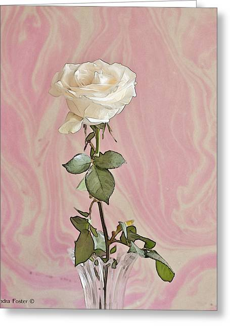 Greeting Card featuring the photograph White Long Stemmed Rose by Sandra Foster