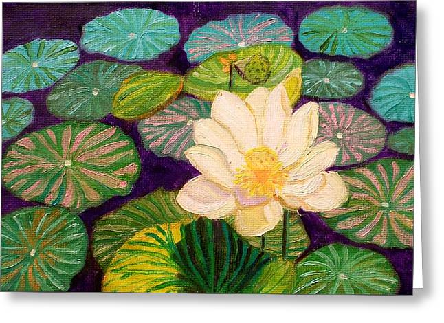 White Lotus Flower Greeting Card