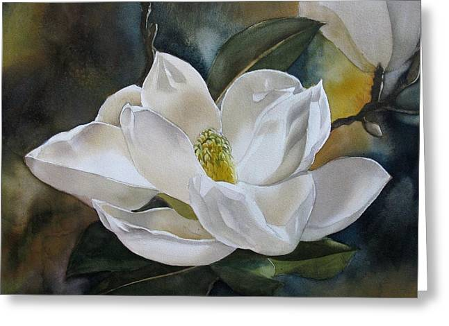White Magnolia Greeting Card by Alfred Ng