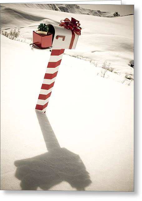 White Mailbox Decorated For Christmas Greeting Card by Kevin Smith
