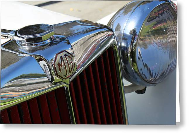 White Mg With Red Grille Greeting Card by Mark Steven Burhart