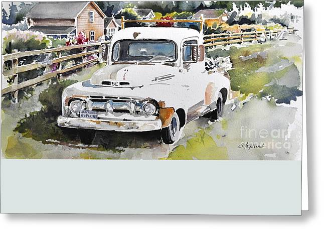 White Old Truck Parked Over The Fench Greeting Card