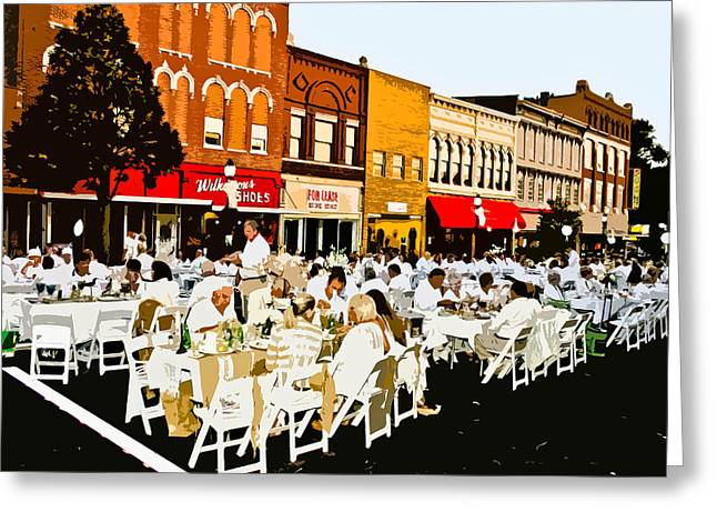 White On Main Greeting Card by Betty Smithhart