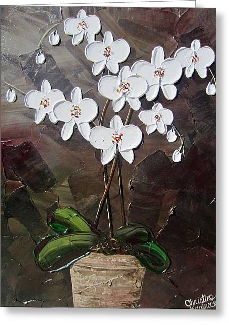 White Orchid Flowers Greeting Card by Christine Krainock