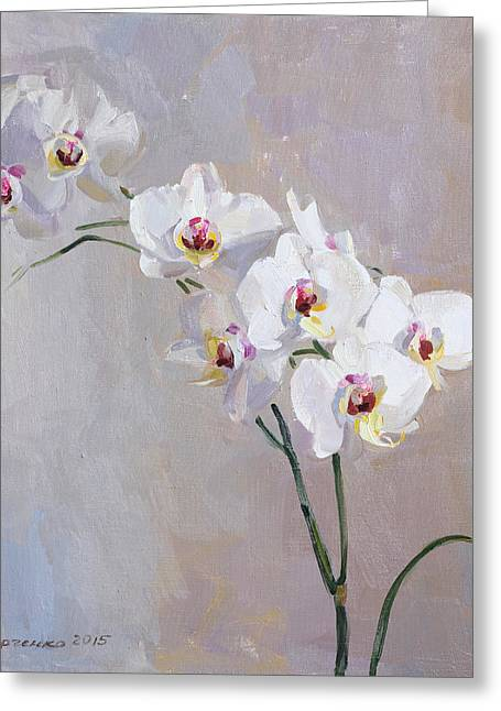 White Orchid Greeting Card by Victoria Kharchenko