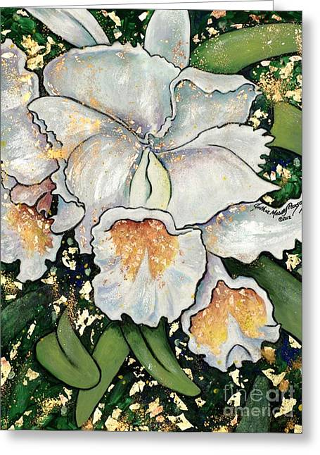 Greeting Card featuring the painting White Orchids by Cynthia Parsons