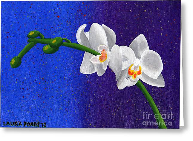 Greeting Card featuring the painting White Orchids by Laura Forde