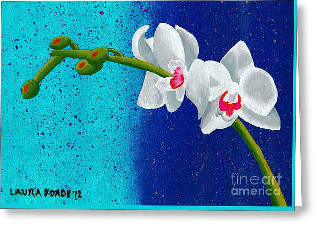 White Orchids On Blue Greeting Card by Laura Forde