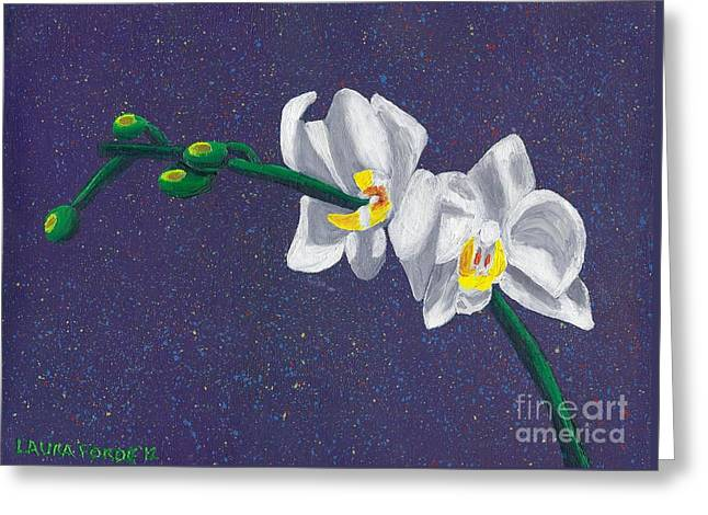 White Orchids On Dark Blue Greeting Card by Laura Forde