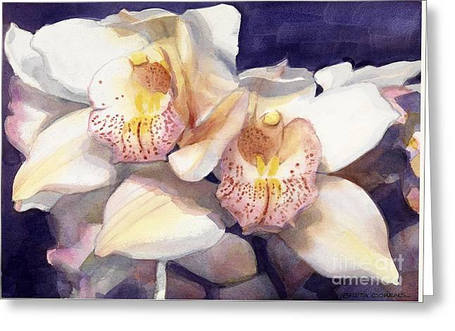 White Orchids Watercolor Greeting Card