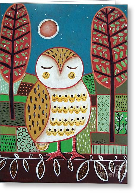 White Owl Greeting Card by Karla Gerard