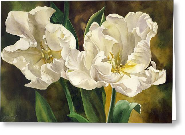 White Parrot Tulips Greeting Card