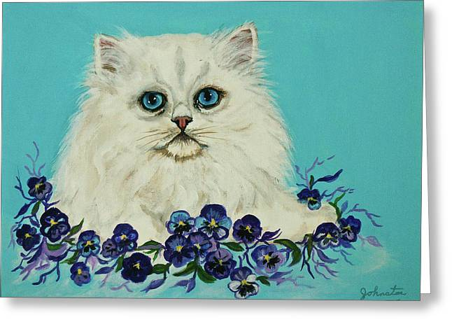 Greeting Card featuring the painting White Persian In Pansy Patch Original Forsale by Bob and Nadine Johnston