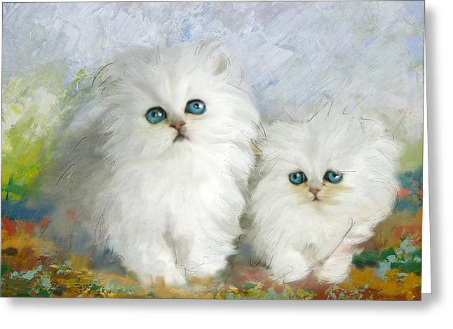 White Persian Kittens  Greeting Card by Catf