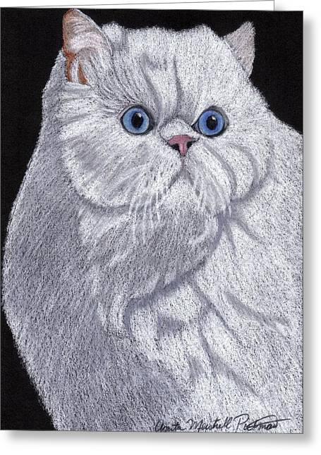 White Persian Vignette Greeting Card by Anita Putman
