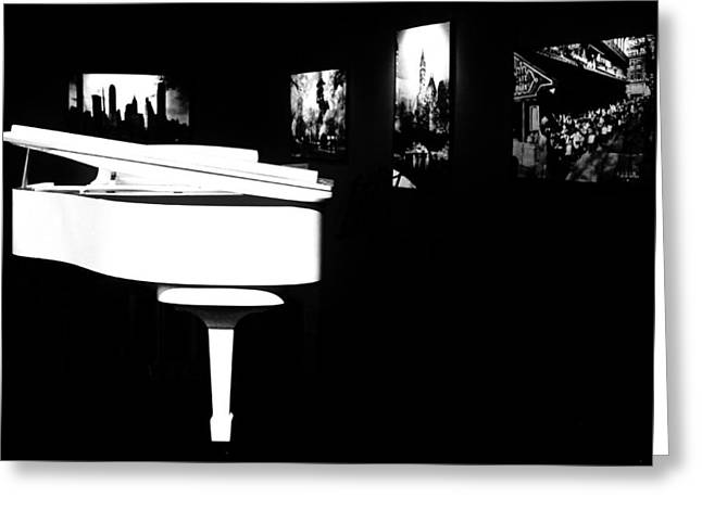 White Piano Greeting Card by Benjamin Yeager