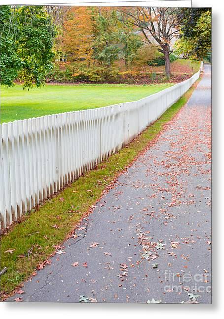 White Picket Fence Deerfield Ma Greeting Card by Edward Fielding