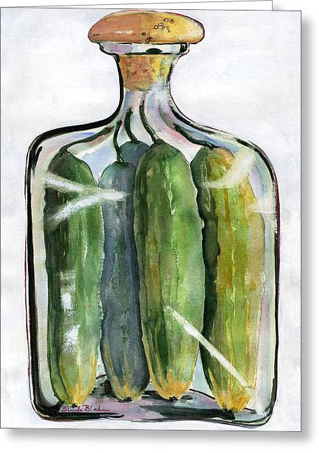 White Pickle Jar Art Greeting Card by Blenda Studio