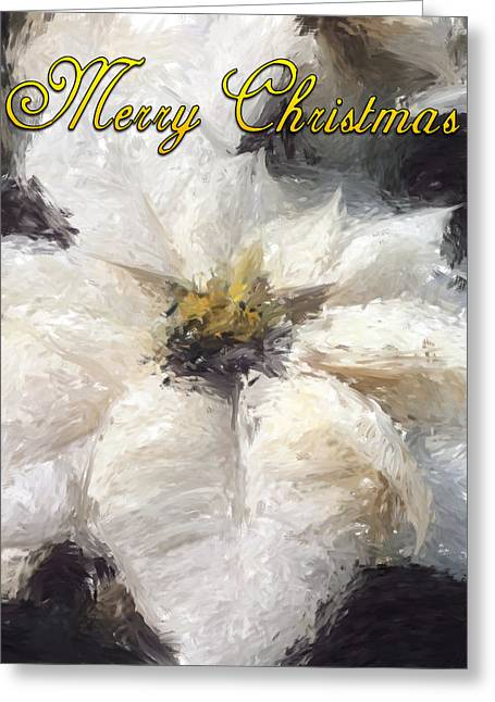 Greeting Card featuring the painting White Poinsettias Christmas Card by Jennifer Hotai