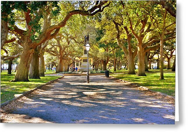 White Point Gardens At Battery Park Charleston Sc Hdr Greeting Card