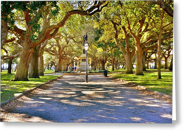 White Point Gardens At Battery Park Charleston Sc Hdr Greeting Card