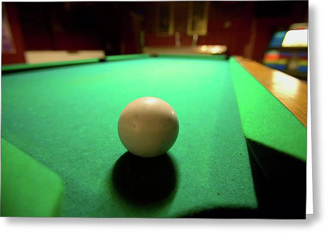 White Pool Ball Lit By Electric Lights Greeting Card