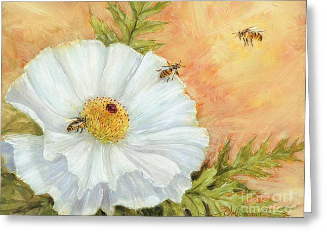 White Poppy And Bees Greeting Card