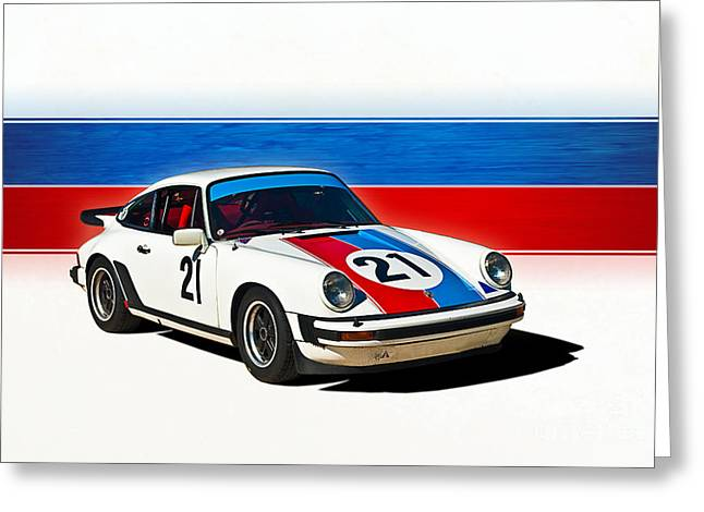 White Porsche 911 Greeting Card