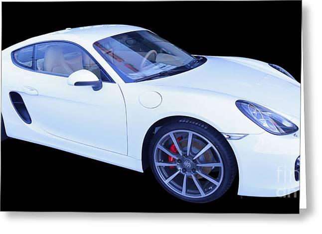 White Porsche Cayman S Greeting Card