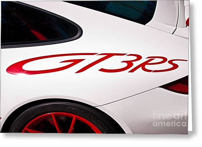 White Porsche Gt3rs - Rear Quarter Greeting Card