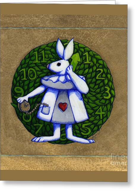 Greeting Card featuring the mixed media White Rabbit Wonderland by Donna Huntriss