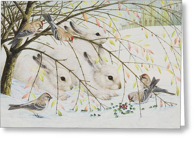 White Rabbits Greeting Card by Lynn Bywaters