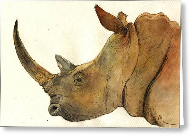 White Rhino Head Study Greeting Card by Juan  Bosco
