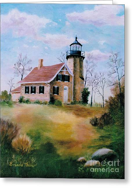 Greeting Card featuring the painting White River Light by Brenda Thour