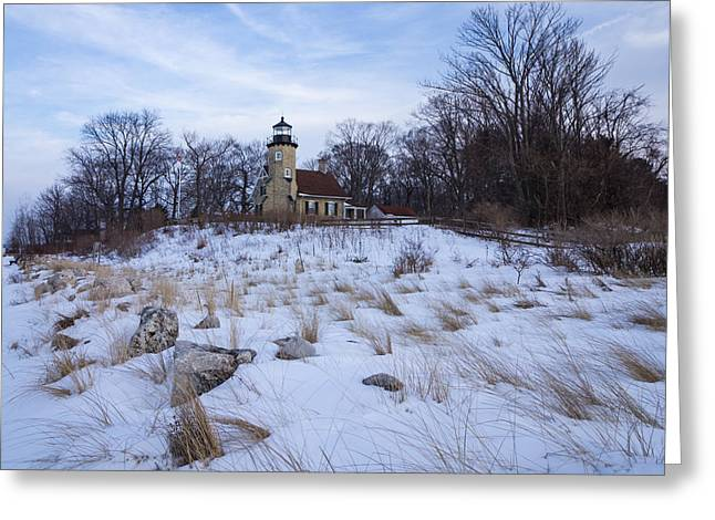 White River Lighthouse In Winter Greeting Card