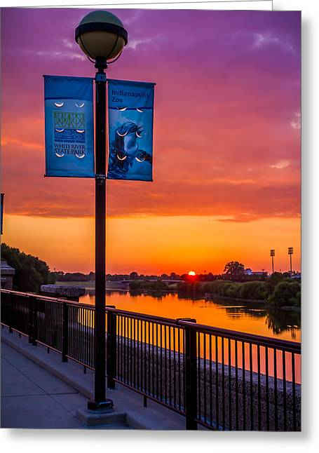White River Sunset Greeting Card