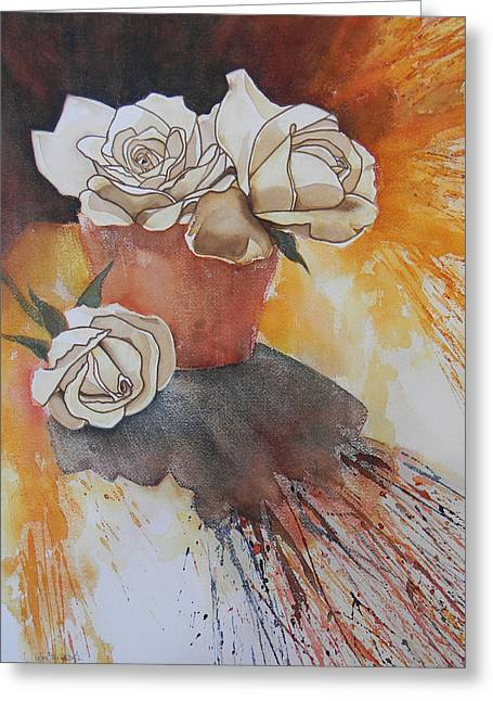 White Roses Greeting Card by Adel Nemeth
