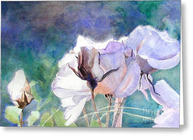 Greeting Card featuring the painting White Roses In The Shade by Greta Corens