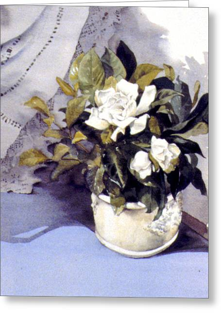 White Roses Greeting Card by Julia Rowntree
