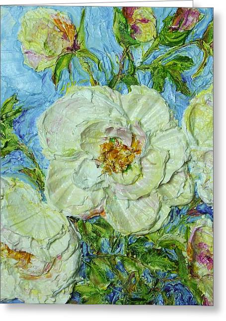 White Roses Greeting Card by Paris Wyatt Llanso