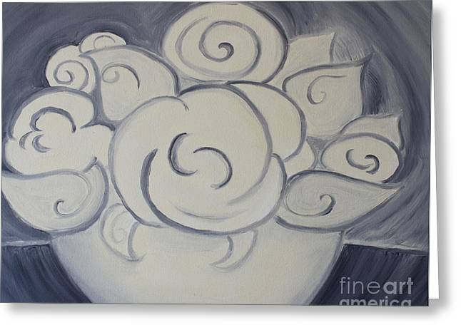 White Roses Greeting Card by Teresa Hutto