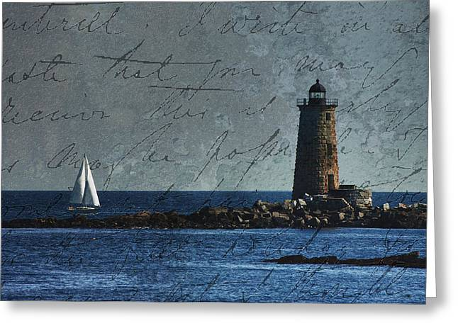 Greeting Card featuring the photograph White Sails On Blue  by Jeff Folger