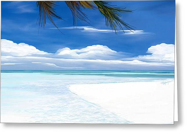 Greeting Card featuring the digital art White Sand And Turquoise Sea by Anthony Fishburne